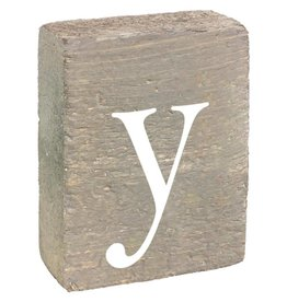 Rustic Marlin Rustic Block, Lowercase Letter Y - Grey Wash, White, Belle Font