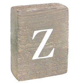 Rustic Marlin Rustic Block, Lowercase Letter Z - Grey Wash, White, Belle Font