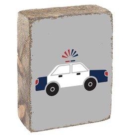 Rustic Marlin Rustic Block - Police Car, Light Grey, White, Navy, Red