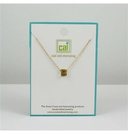Cool and Interesting Small Gold Block Initial Necklace, B