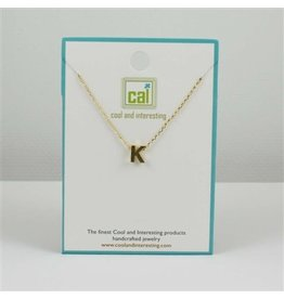 Cool and Interesting Small Gold Block Initial Necklace, K