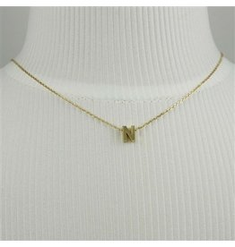 Cool and Interesting Small Gold Block Initial Necklace, N