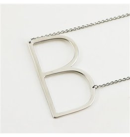 Cool and Interesting Silver Sideways Initial Necklace - B
