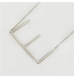 Cool and Interesting Silver Sideways Initial Necklace - E