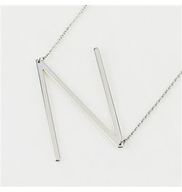 Cool and Interesting Silver Sideways Initial Necklace -  N