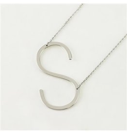 Cool and Interesting Silver Sideways Initial Necklace -  S