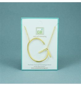 Cool and Interesting Gold Sideways Initial Necklace - G