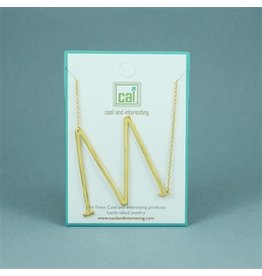 Cool and Interesting Gold Sideways Initial Necklace - M