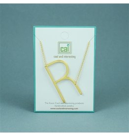 Cool and Interesting Gold Sideways Initial Necklace - R