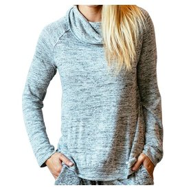 Hello Mello Carefree Threads Cowl Neck Lounge Top, Heather Grey