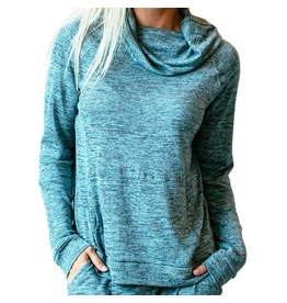 Hello Mello Carefree Threads Cowl Neck Lounge Top, Teal
