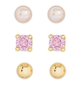 Lily Nily Freshwater Pearl & CZ Stud Set in 18K Gold over Sterling Silver