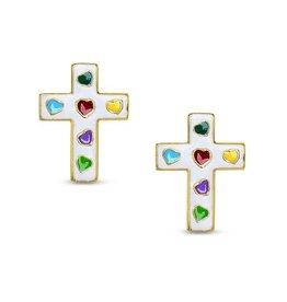 Lily Nily Cross Stud Earrings - White