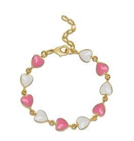 Lily Nily Heart Link Bracelet - Pink/White