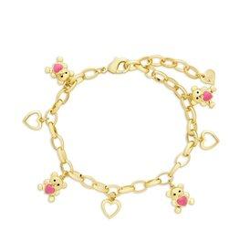 Lily Nily Teddy Bear and Hearts Charm Bracelet