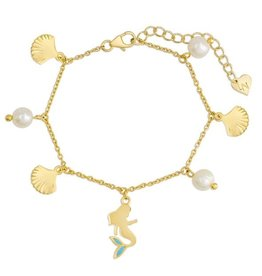 Lily Nily 18k Gold Plated Mermaid & Freshwater Pearl Bracelet