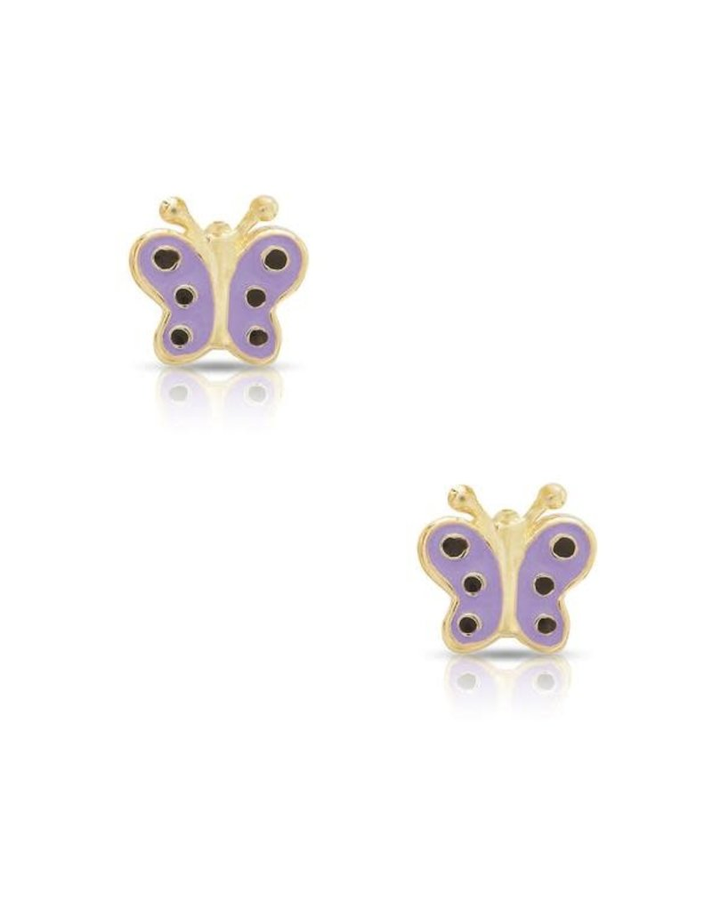 Lily Nily 18k Gold Overlay Butterfly Stud Earrings, Lavender