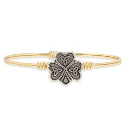 Luca & Danni Shamrock Bangle Bracelet, Brass