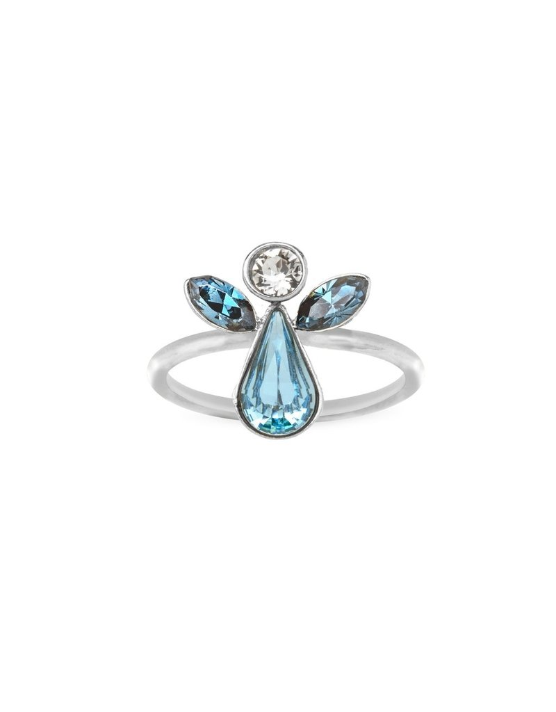 Luca & Danni Angel Ring in Crystal, Silver