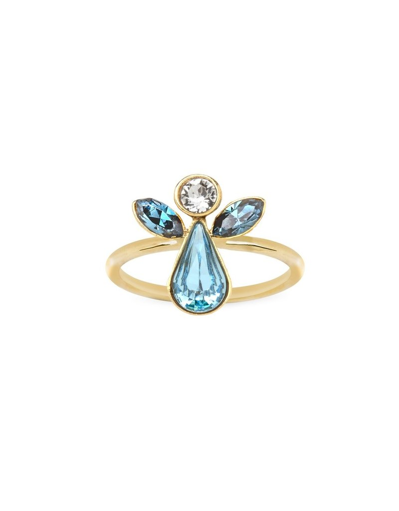 Luca & Danni Angel Ring in Crystal, Gold