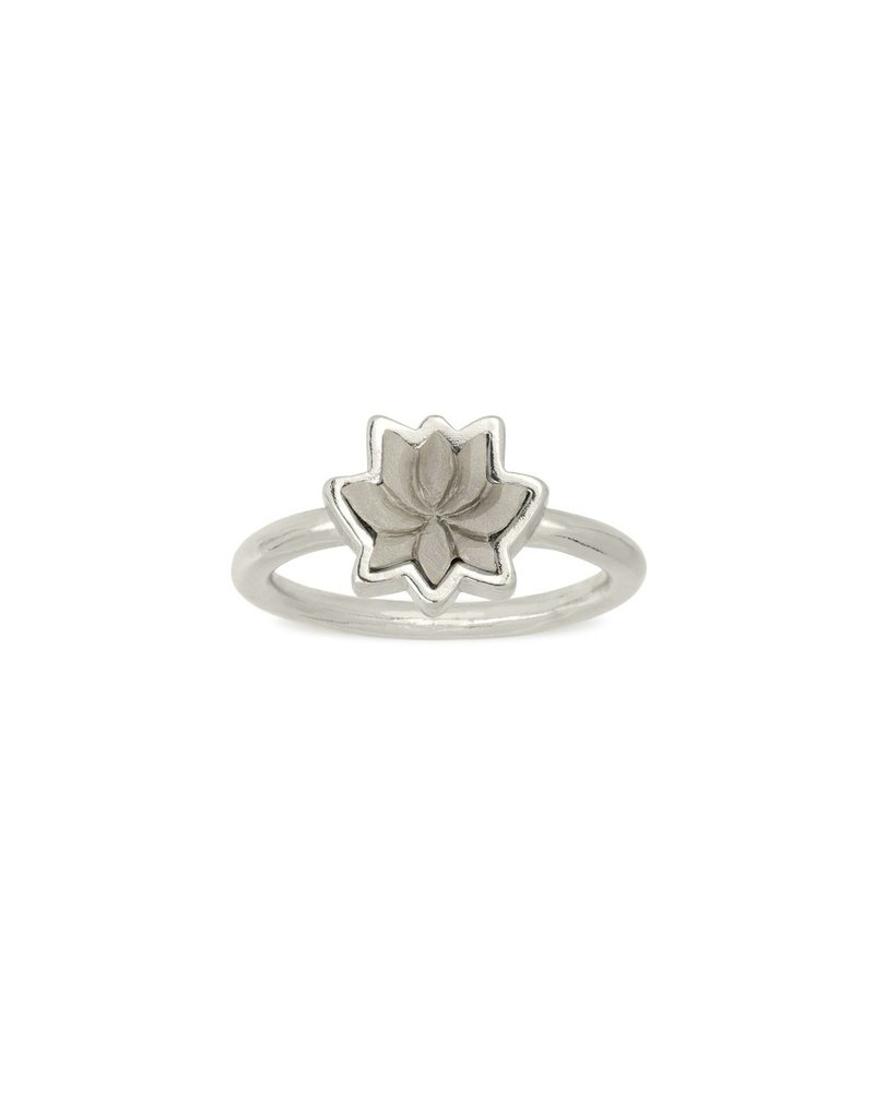 Lotus Flower Ring Silver Periwinkle Boutique Tess Morgan