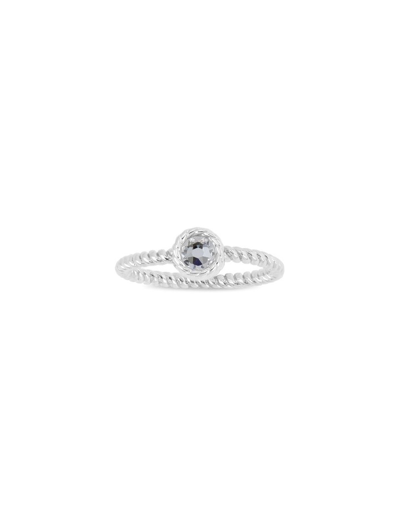 Luca & Danni April Birthstone Ring, Silver