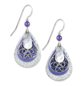 Silver Forest Silver Purple Trees with Filigree