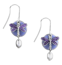 Silver Forest Gold Dragonfly on Purple Round