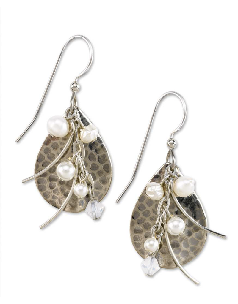 Silver Forest Hammered Tear with Pearls