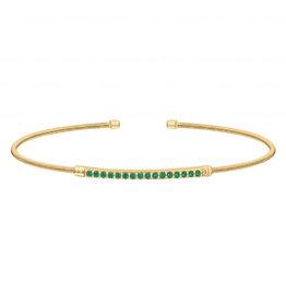 Bella Cavo Gold Cable Cuff Bracelet, Simulated Diamond Green Bar