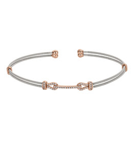 Bella Cavo Silver Multi Cable Bracelet, Simulated Diamond Rose Gold Bar