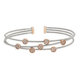 Bella Cavo Silver Multi Cable Bracelet, Simulated Diamond Rose Gold Round Accents
