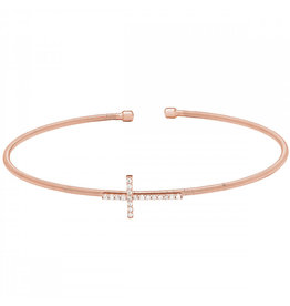Bella Cavo Rose Gold Cable Cuff Bracelet, Cross