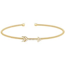 Bella Cavo Gold Cuff with Arrow Simulated Diamond Charm