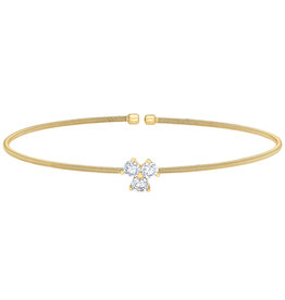 Bella Cavo Gold Cuff with Two Simulated Diamond Trio Charm
