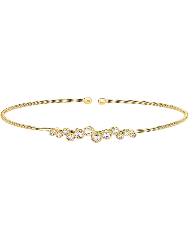 Bella Cavo Gold Cuff with Round Simulated Diamond Charms