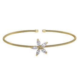 Bella Cavo Gold Cable Cuff Bracelet Simulated Diamond Flower