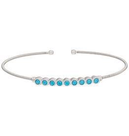 Bella Cavo Silver Cuff with Turquoise Bar