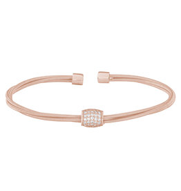 Bella Cavo Rose Gold Twisted Cable Bracelet, Simulated Diamond Bead