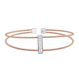 Bella Cavo Rose Gold Double Cable Bracelet, Simulated Diamond Rectangle