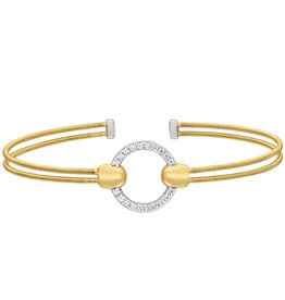 Bella Cavo Duo Tone Cable Bracelet with Simulated Diamond O