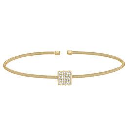 Bella Cavo Gold Cable Cuff Bracelet Simulated Diamond Square