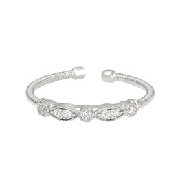 Bella Cavo Silver Cable Ring, Simulated Diamond Bar - 5