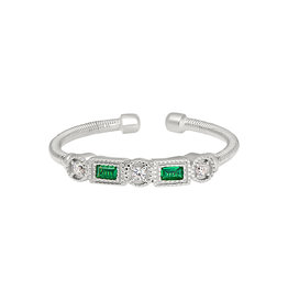 Bella Cavo Silver Cable Ring, Emerald & Simulated Diamond Bar - 8