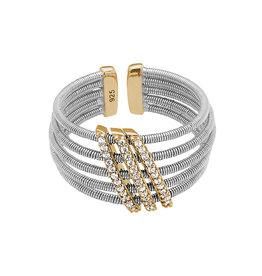 Bella Cavo Silver Cable Ring, Gold Simulated Diamond Accent - 5
