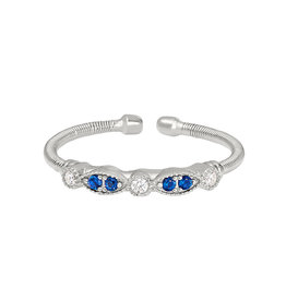 Bella Cavo Silver Cable Ring, Sapphire & Simulated Diamond Bar - 5