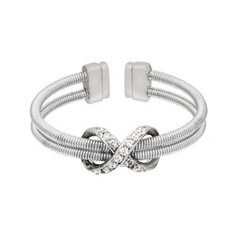 Bella Cavo Silver Cable Ring, Silver Simulated Diamond Infinity - 5