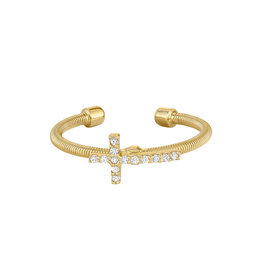 Bella Cavo Gold Cable Ring, Simulated Diamond Cross - 8