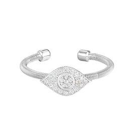 Bella Cavo Silver Cable Ring, Simulated Diamond Evil Eye - 5