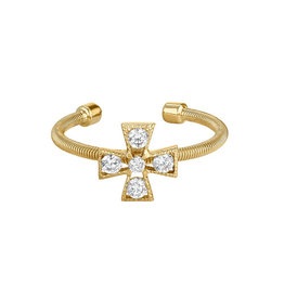 Bella Cavo Gold Cable Ring,  Simulated Diamonds  - 8